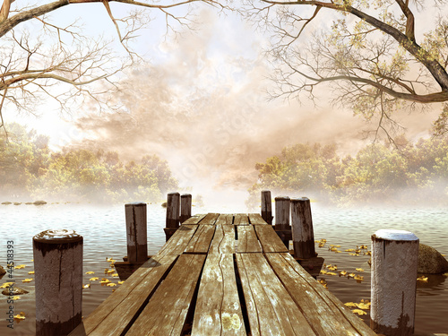 Cuadros en Lienzo Jesienna sceneria z drewnianym molo na jeziorze