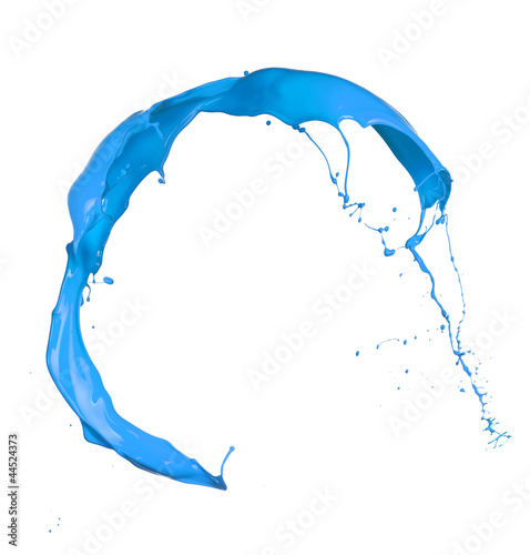 Isolated shot of blue paint splash on white background Fototapete