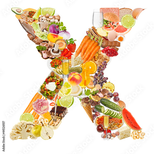 letter x made of food - buy this stock photo and explore similar