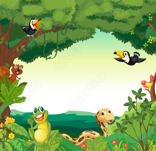 Door stickers Forest animals forest scene