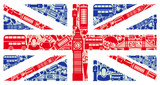 Fototapeta Londyn - Flag of England from symbols of the United Kingdom and London