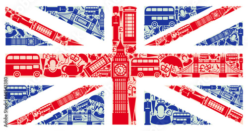 Flag of England from symbols of the United Kingdom and London Wallpaper Mural