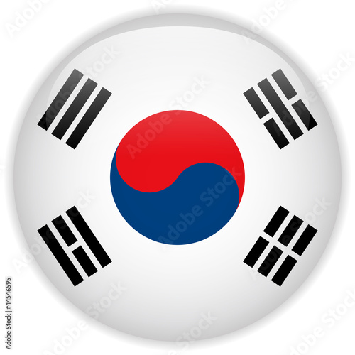 Fotografía  South Korea Flag Glossy Button