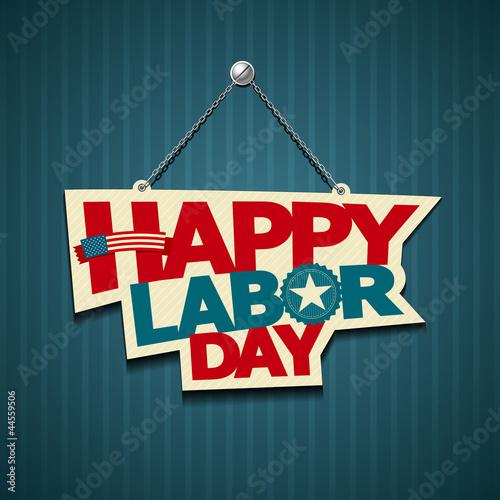 Fotografía  Happy Labor day american. text signs. vector