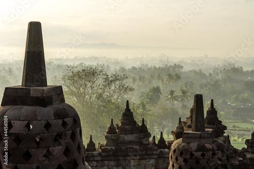Foto op Plexiglas Indonesië View from Borobudur temple, Yogyakarta, Java island, Indonesia