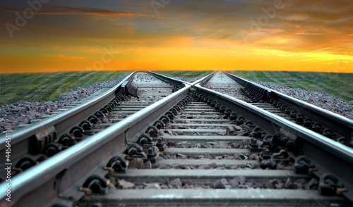 Canvas Prints Railroad Railroad in sunset