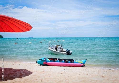 Recess Fitting Water Motor sports banana boat on sand beach