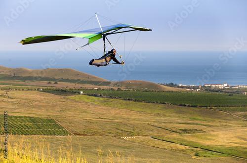 Fotografía  hand gliding up to yellow green meadow near the sea