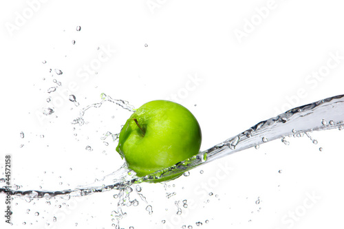 Foto op Canvas Opspattend water Fresh apple with water splashing, isolated on white background