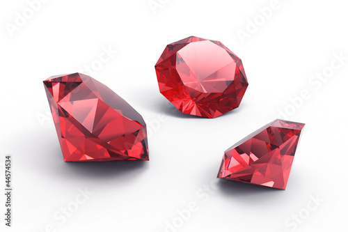 Cuadros en Lienzo A beautiful ruby gems isolated on white background