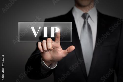 Fotografía  businessman pressing virtual button - VIP