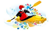 Vector Illustration Of A Kayaker