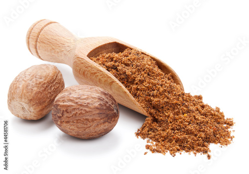 Recess Fitting Spices milled nutmeg isolated on white