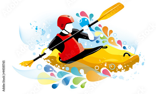 Vector illustration of a kayaker Canvas Print