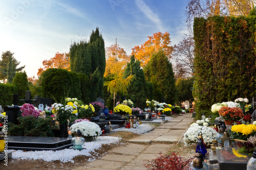 Foto op Canvas Begraafplaats Friedhof am Allerheiligen