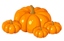 Vector Illustration Of Four Orange Pumpkins.