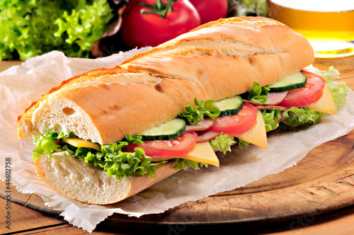 Spoed Foto op Canvas Snack Ham salad submarine sandwich
