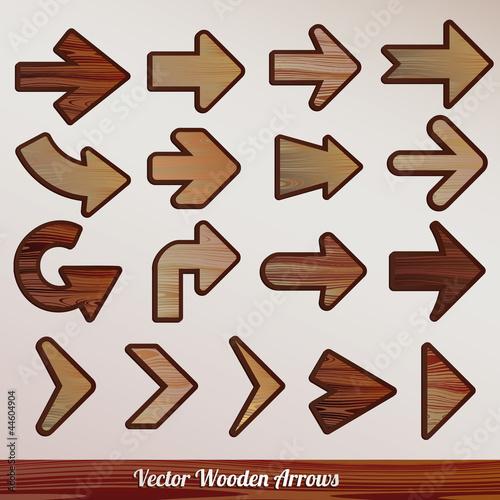 Photo Vector set arrows wooden