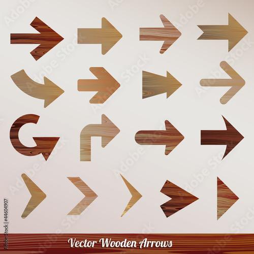 Vector set arrows wooden Canvas Print