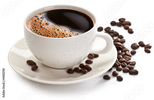 Spoed Foto op Canvas Cafe Coffee cup and beans