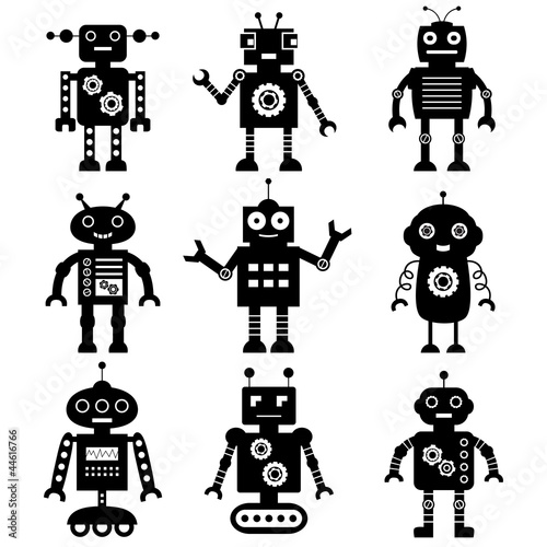 Photo sur Aluminium Robots Robot silhouettes set