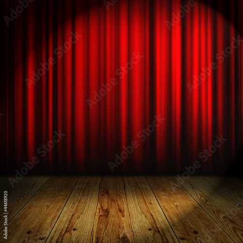 In de dag Theater red curtain with place for text
