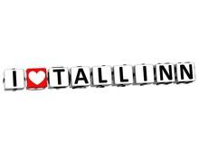 3D I Love Tallinn Button Click Here Block Text