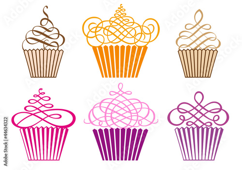 Платно set of cupcakes, vector
