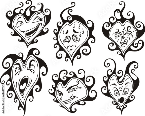 Printed kitchen splashbacks Butterflies in Grunge Heart shaped faces