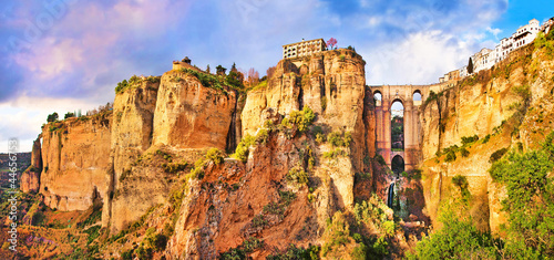 Panoramic view of the city of Ronda at sunset, Andalusia, Spain Canvas Print