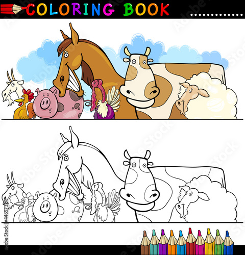 Deurstickers Pony Farm and Livestock Animals for Coloring