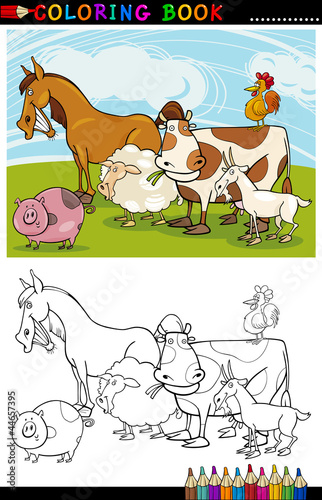 Türaufkleber Zum Malen Farm and Livestock Animals for Coloring