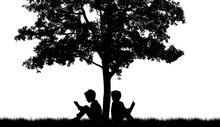 Silhouettes Of Children Read B...