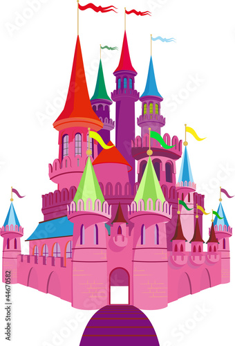 Foto op Canvas Kasteel Fairy-tale Pink Castle