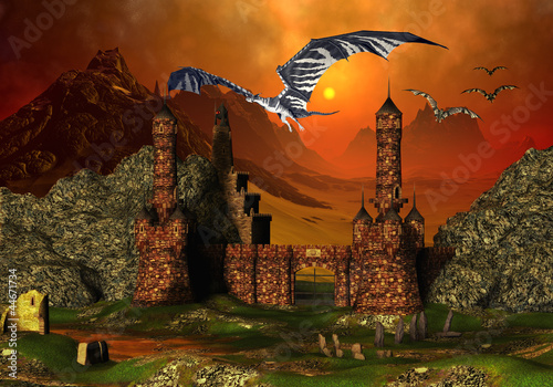 Stickers pour portes Dragons Fantasy Scene With A Castle And Dragons
