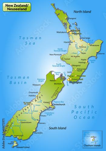 Umgebungskarte von Neuseeland Canvas Print