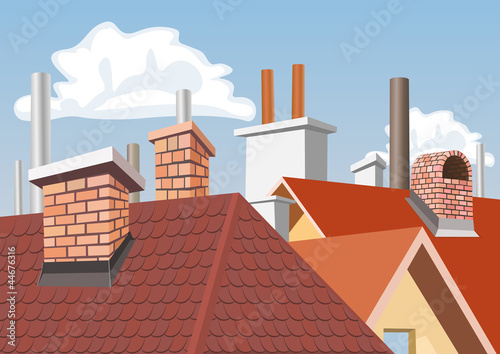 Fotografia Chimneys on the roofs of houses
