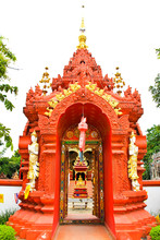 Gate Of Temple At Wat Ming Muang,Chiangrai Province Of Thailand.