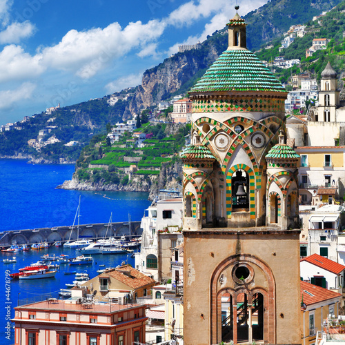 Papiers peints Naples beautiful Amalfi, Italy. view with church