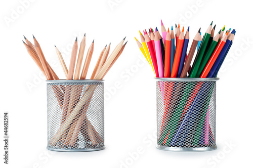 Fototapeta  pencils in holder isolated on white