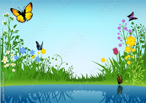 Poster Vlinders Small Lake and Butterflies