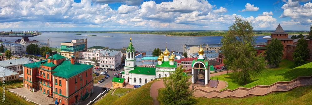 Fototapety, obrazy: Nizhny Novgorod and Junction of Oka river with Volga River