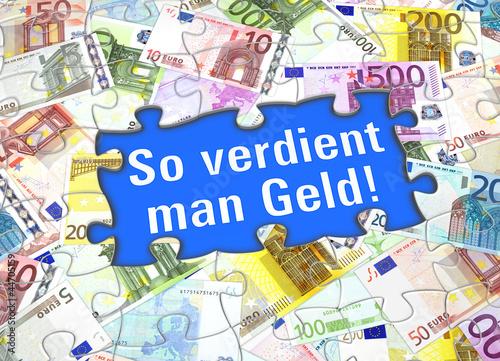 Tuinposter Wereldkaart So verdient man Geld!