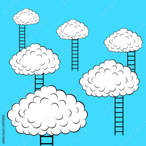 Poster Ciel Clouds with stairs, vector illustration