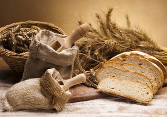 Fototapeta Flour and traditional bread