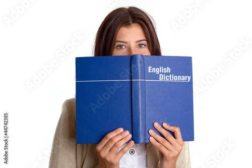 Fototapeta Student girl with English dictionary obraz