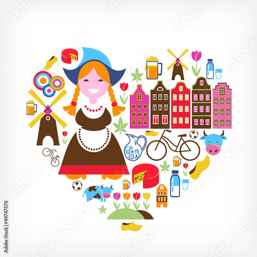 Photo  Heart with Netherlands vector icons