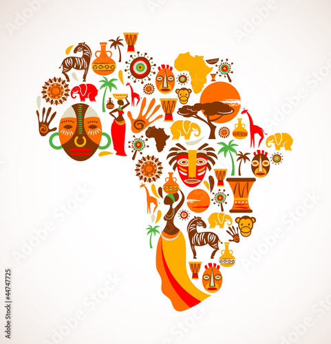 Fotografie, Obraz Map of Africa with vector icons