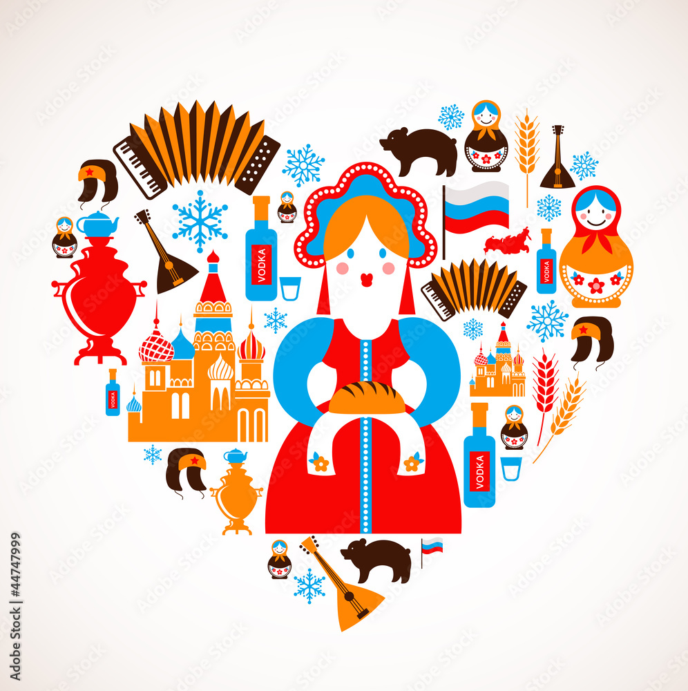 Fototapety, obrazy: Russia love - heart with vector icons