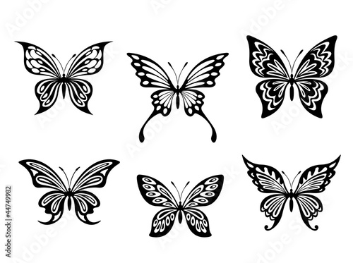 Photo sur Toile Papillons dans Grunge Black butterfly tattoos and silhouettes